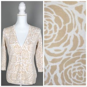 GH Bass&Co Floral 3/4 Sleeve Button Cardigan C1